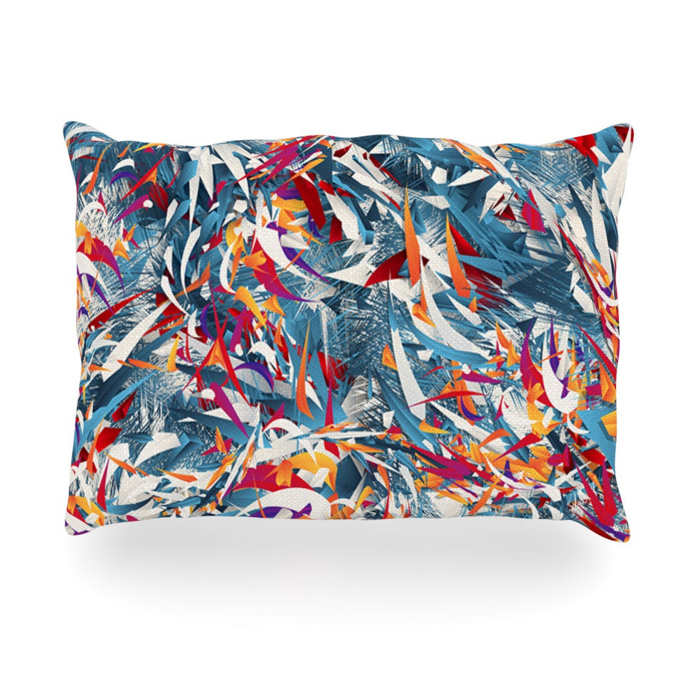 "Danny Ivan ""Excited Colours"" Blue Abstract Oblong Pillow - KESS InHouse"