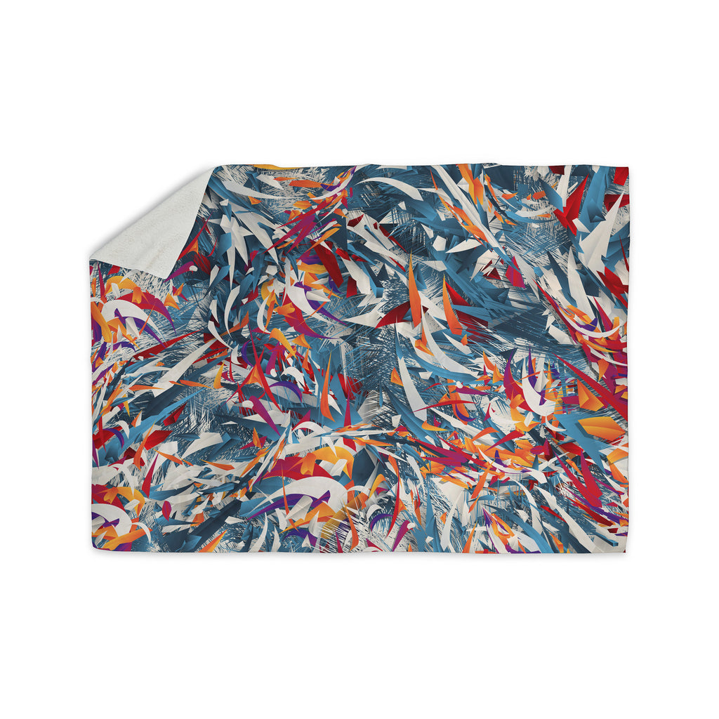 "Danny Ivan ""Excited Colours"" Blue Abstract Sherpa Blanket - KESS InHouse  - 1"
