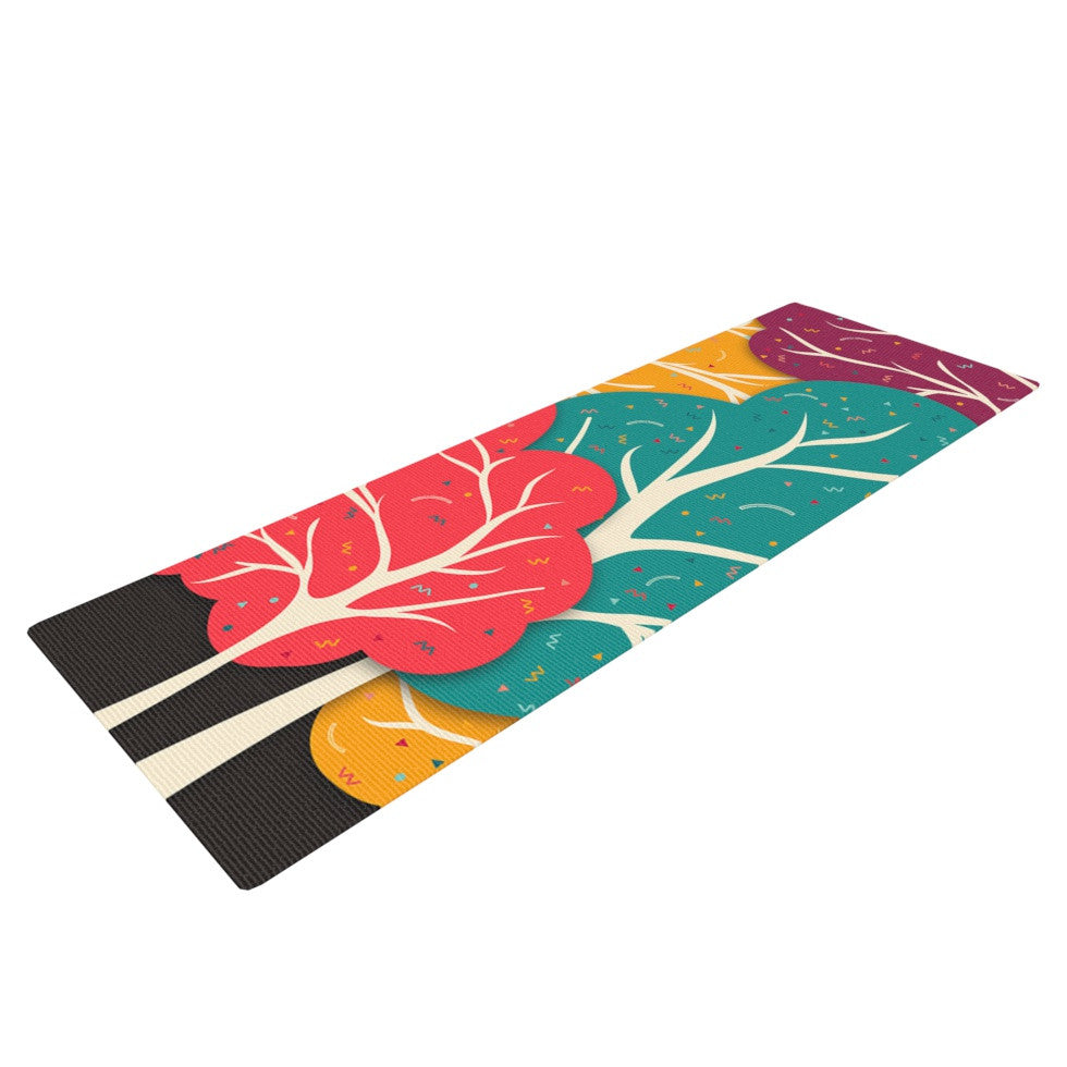 "Danny Ivan ""Happy Forest"" Trees Yoga Mat - KESS InHouse  - 1"