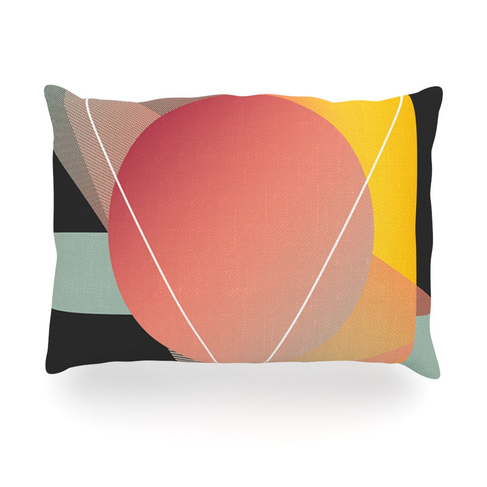 "Danny Ivan ""Objectum"" Pink Abstract Oblong Pillow - KESS InHouse"