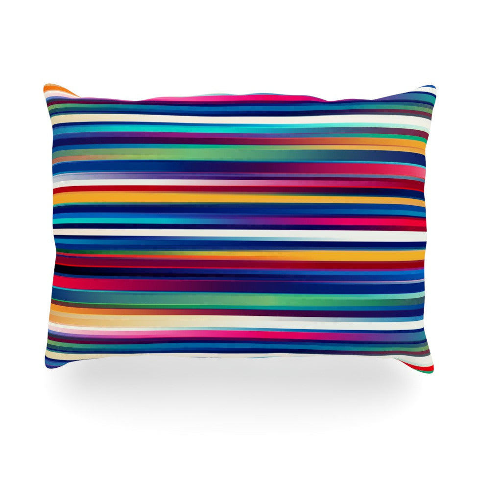 "Danny Ivan ""Blurry Lines"" Multicolor Oblong Pillow - KESS InHouse"