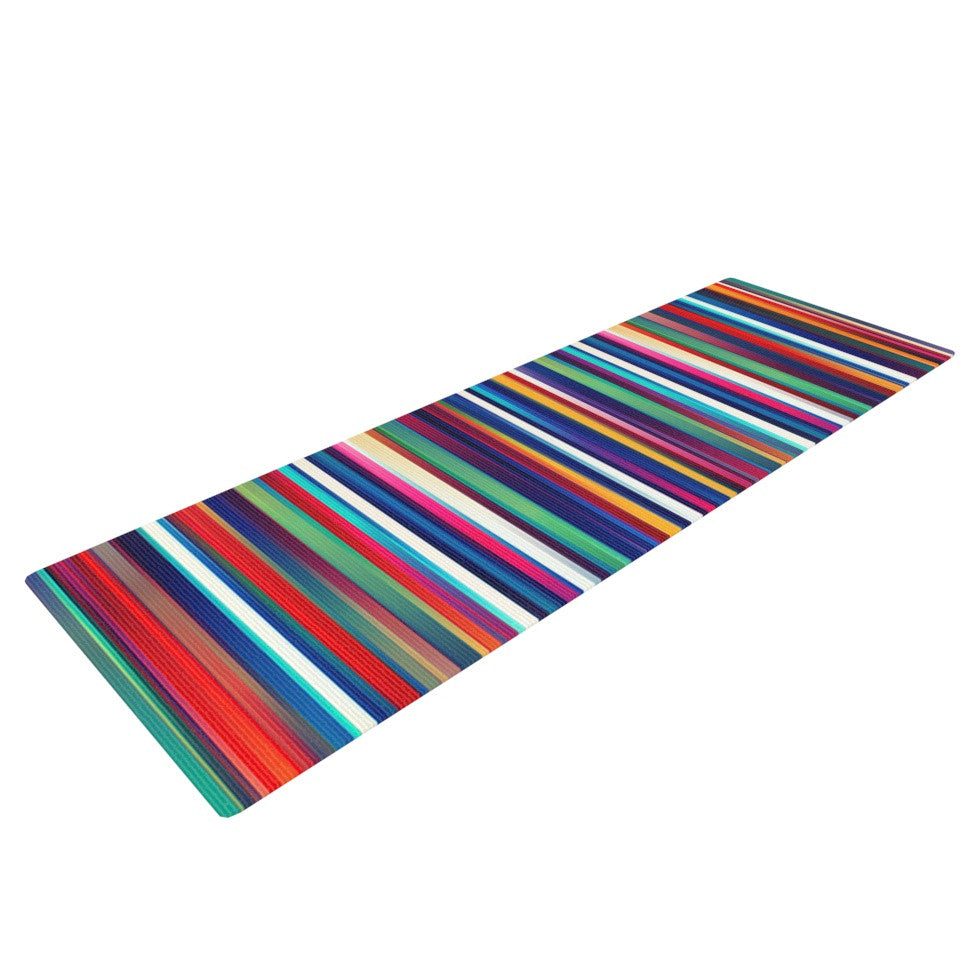 "Danny Ivan ""Blurry Lines"" Multicolor Yoga Mat - KESS InHouse  - 1"
