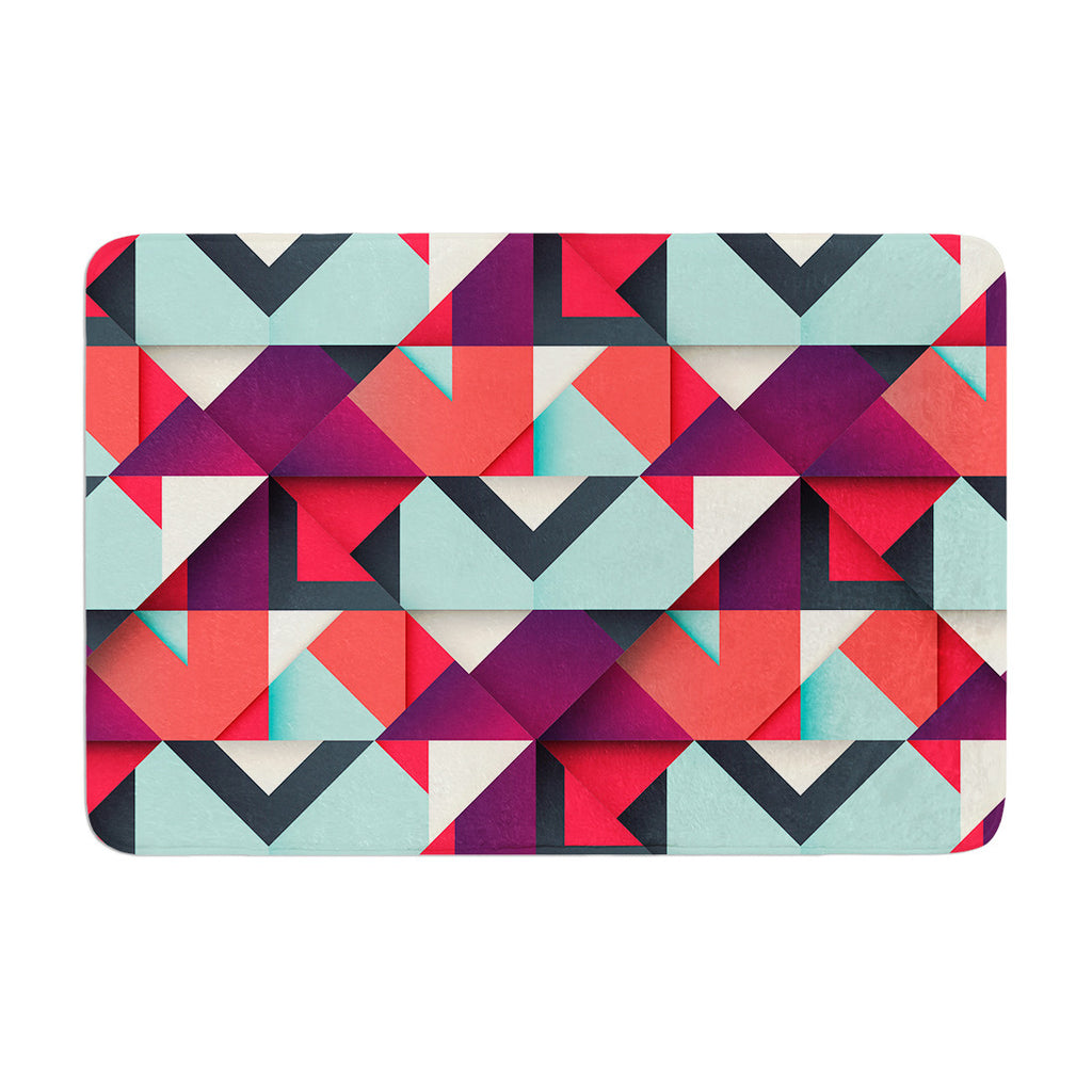 "Danny Ivan ""Shapes"" Aqua Purple Memory Foam Bath Mat - KESS InHouse"