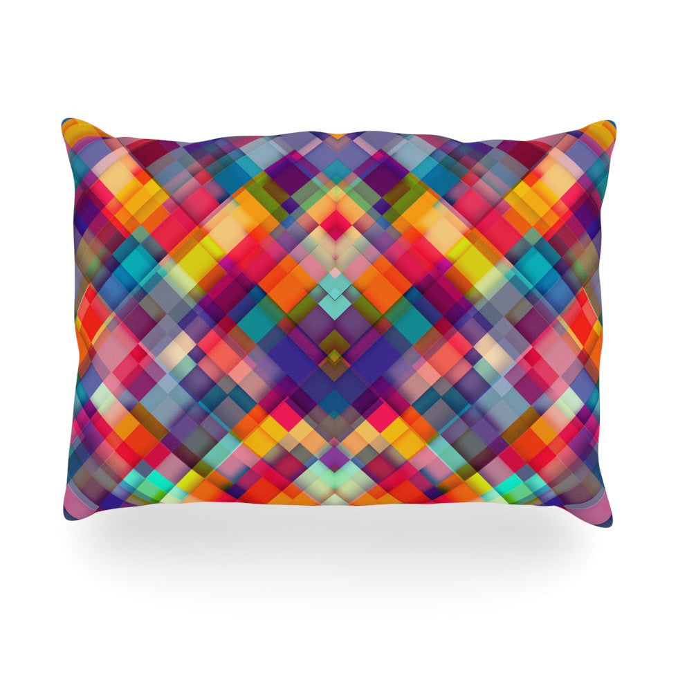 "Danny Ivan ""Squares Everywhere"" Rainbow Shapes Oblong Pillow - KESS InHouse"