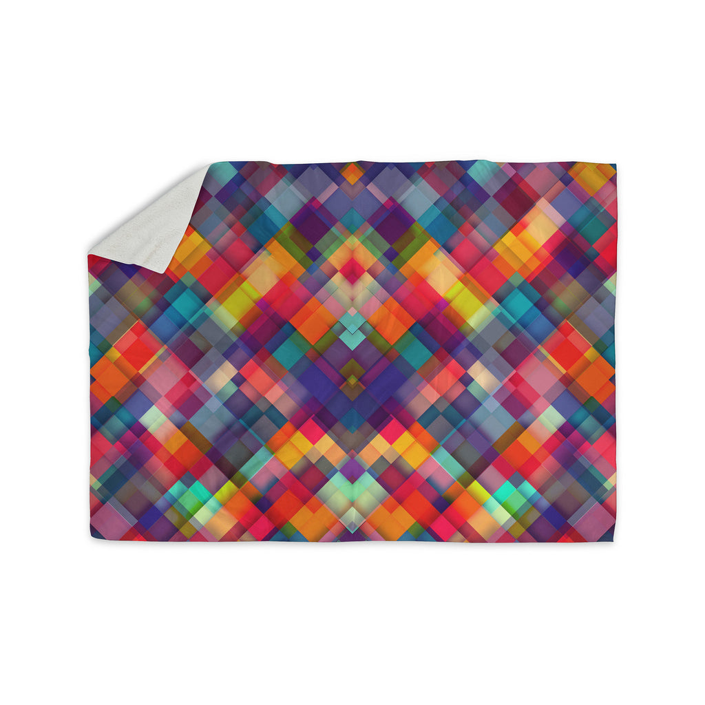 "Danny Ivan ""Squares Everywhere"" Rainbow Shapes Sherpa Blanket - KESS InHouse  - 1"