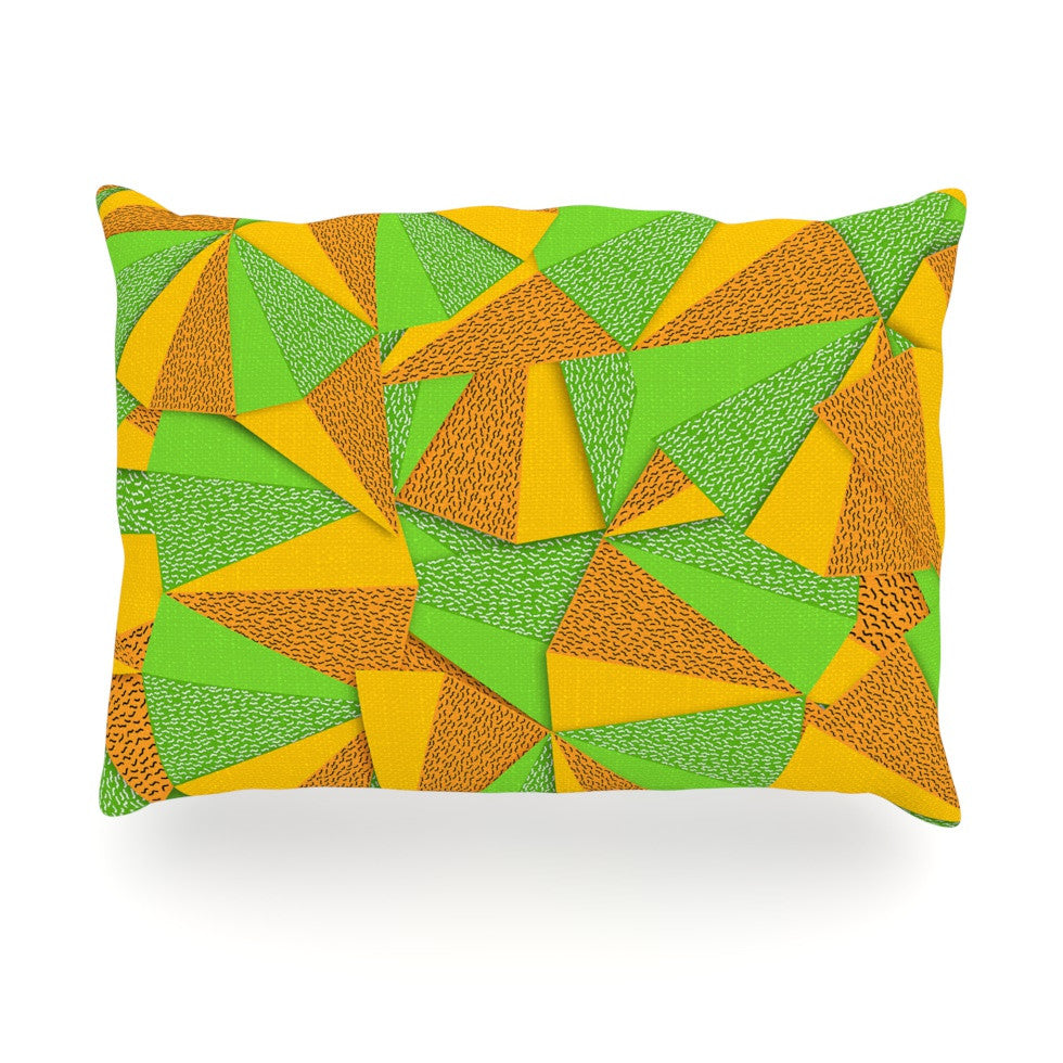 "Danny Ivan ""This Side"" Green Yellow Oblong Pillow - KESS InHouse"