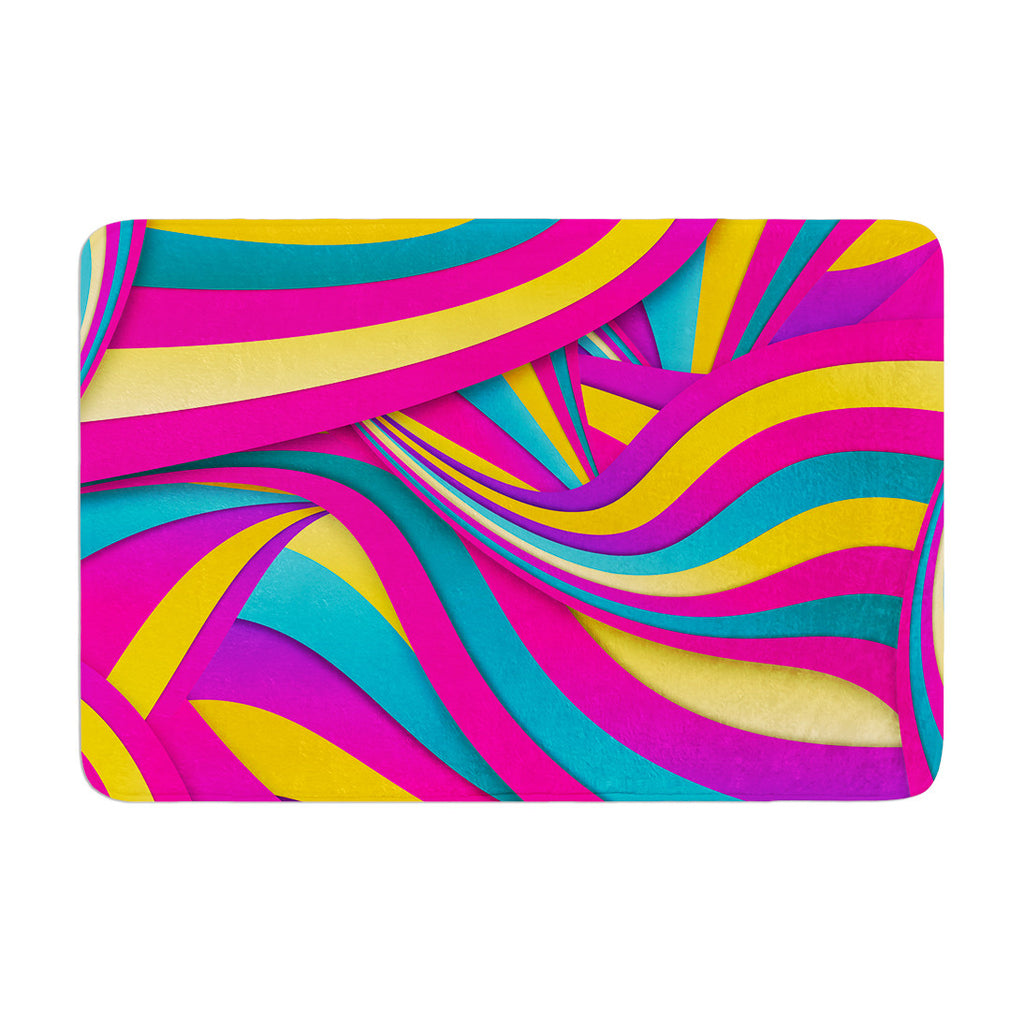 "Danny Ivan ""Swirls Everywhere"" Pink Teal Memory Foam Bath Mat - KESS InHouse"