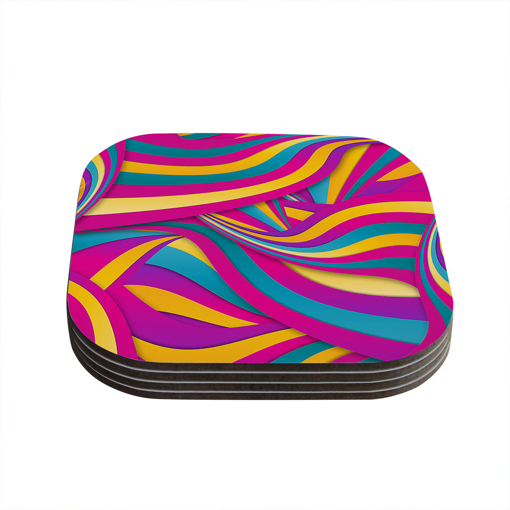 "Danny Ivan ""Swirls Everywhere"" Pink Teal Coasters (Set of 4)"