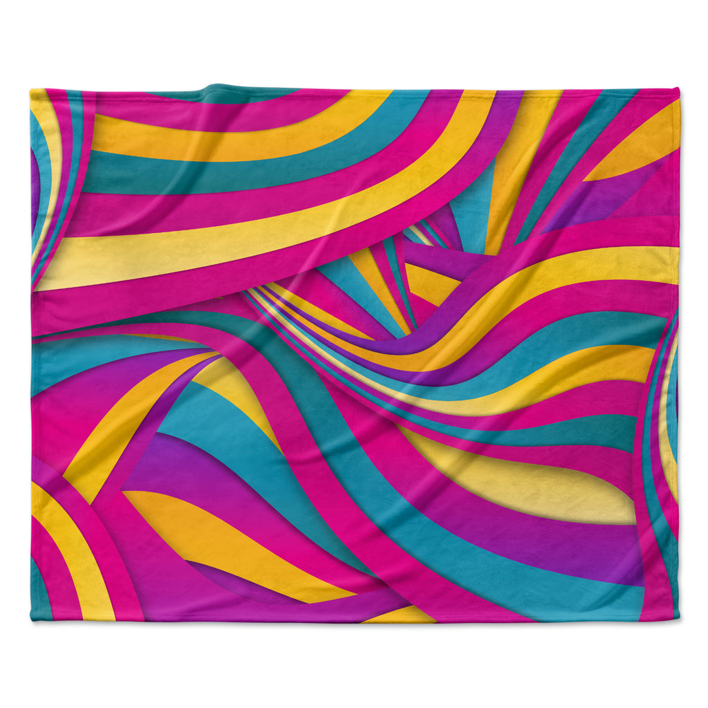 "Danny Ivan ""Swirls Everywhere"" Pink Teal Fleece Throw Blanket"