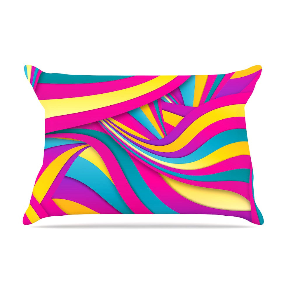 "Danny Ivan ""Swirls Everywhere"" Pink Teal Pillow Sham - KESS InHouse"