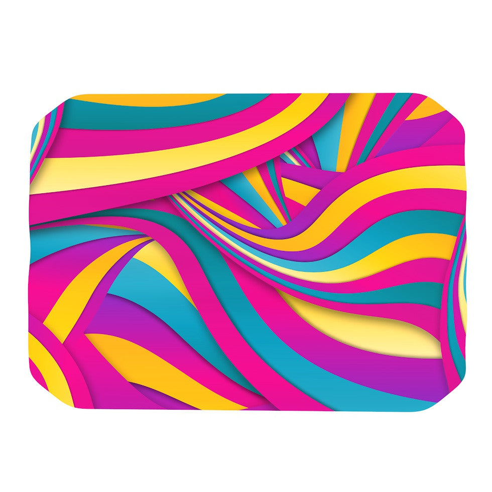 "Danny Ivan ""Swirls Everywhere"" Pink Teal Place Mat - KESS InHouse"