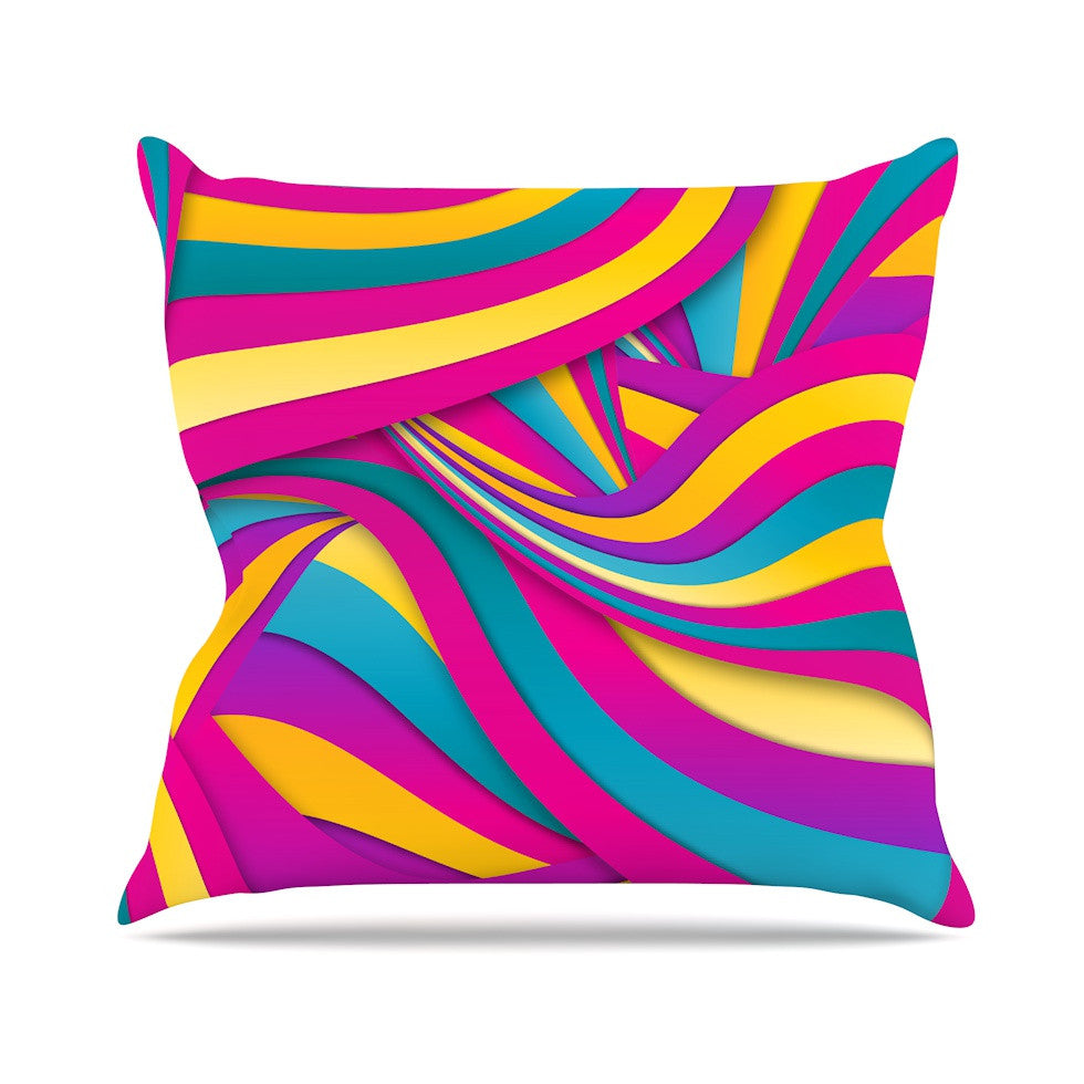 "Danny Ivan ""Swirls Everywhere"" Pink Teal Outdoor Throw Pillow - KESS InHouse  - 1"