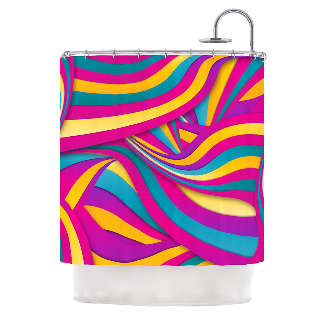 "Danny Ivan ""Swirls Everywhere"" Pink Teal Shower Curtain - KESS InHouse"