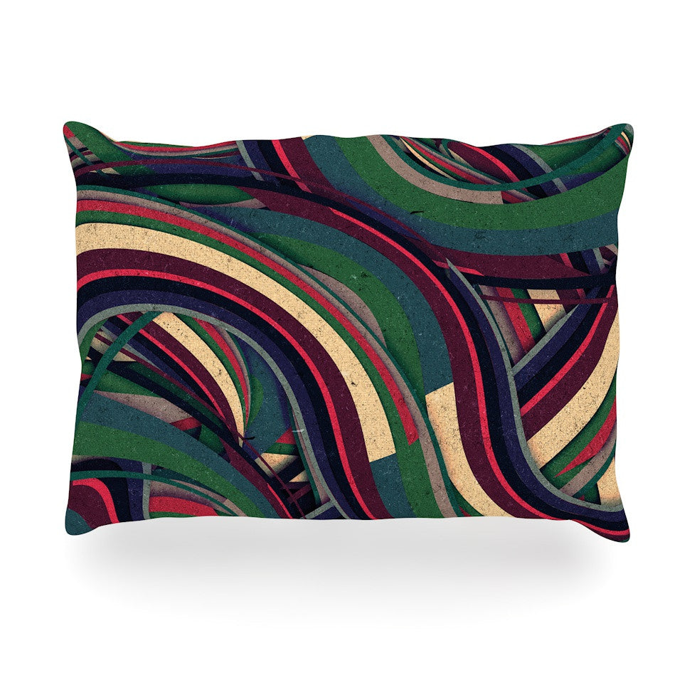 "Danny Ivan ""Swirl Madness"" Dark Geometric Oblong Pillow - KESS InHouse"