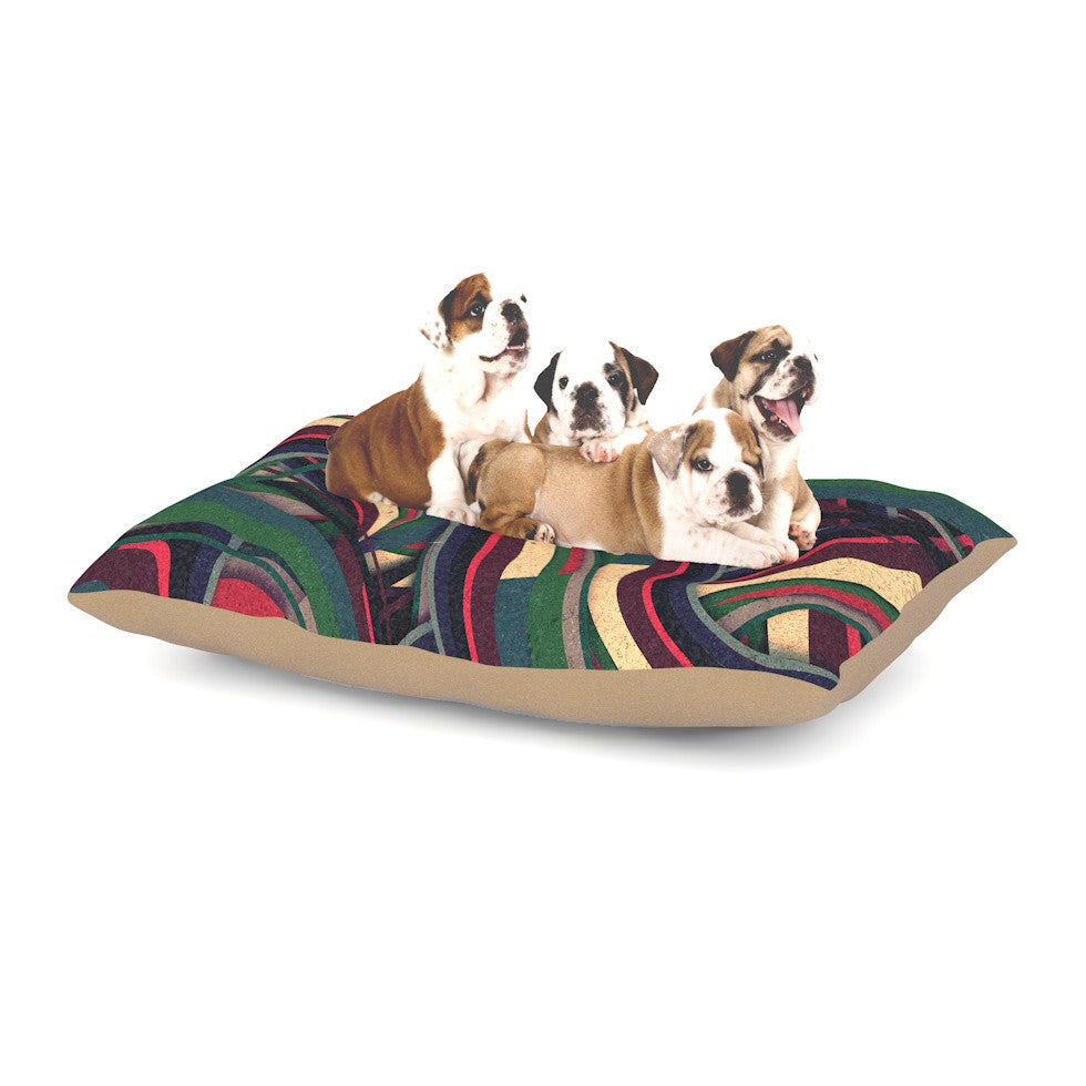 "Danny Ivan ""Swirl Madness"" Dark Geometric Dog Bed - KESS InHouse  - 1"