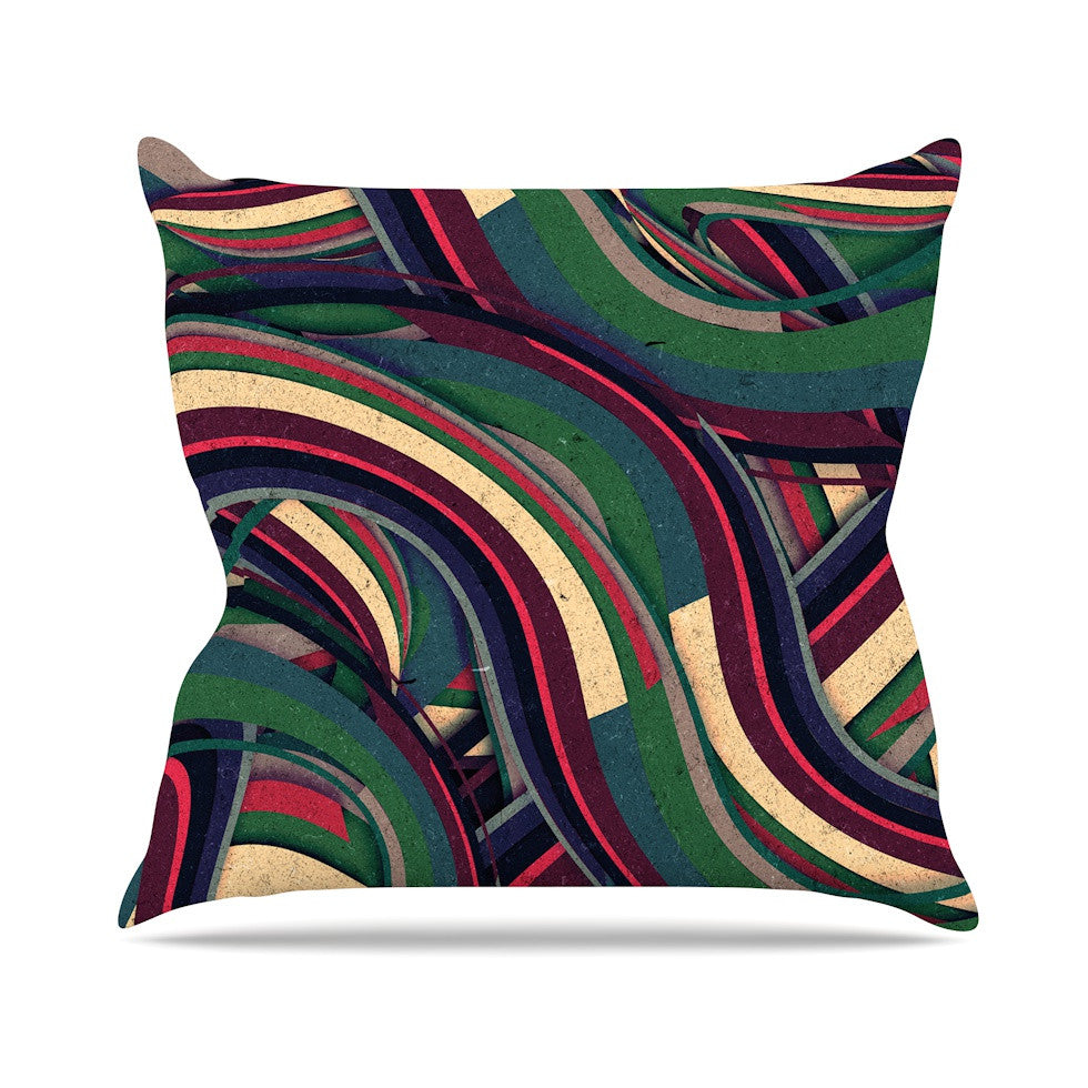 "Danny Ivan ""Swirl Madness"" Dark Geometric Outdoor Throw Pillow - KESS InHouse  - 1"