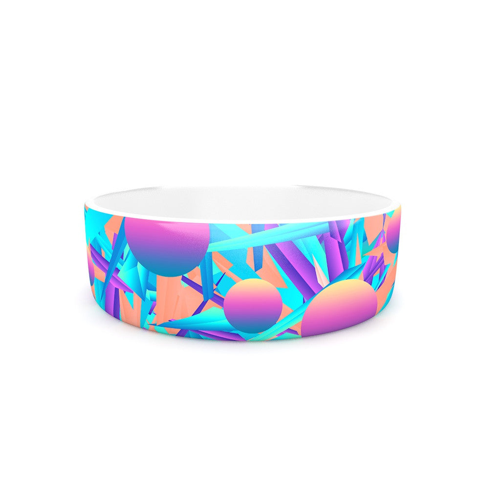 "Danny Ivan ""Blind Face"" Pink Blue Pet Bowl - KESS InHouse"