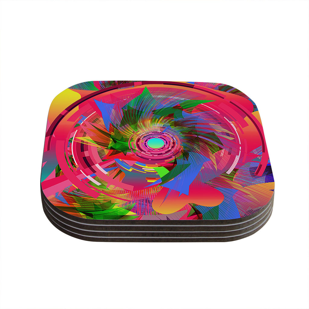 "Danny Ivan ""Fun Hole"" Pink Multicolor Coasters (Set of 4)"