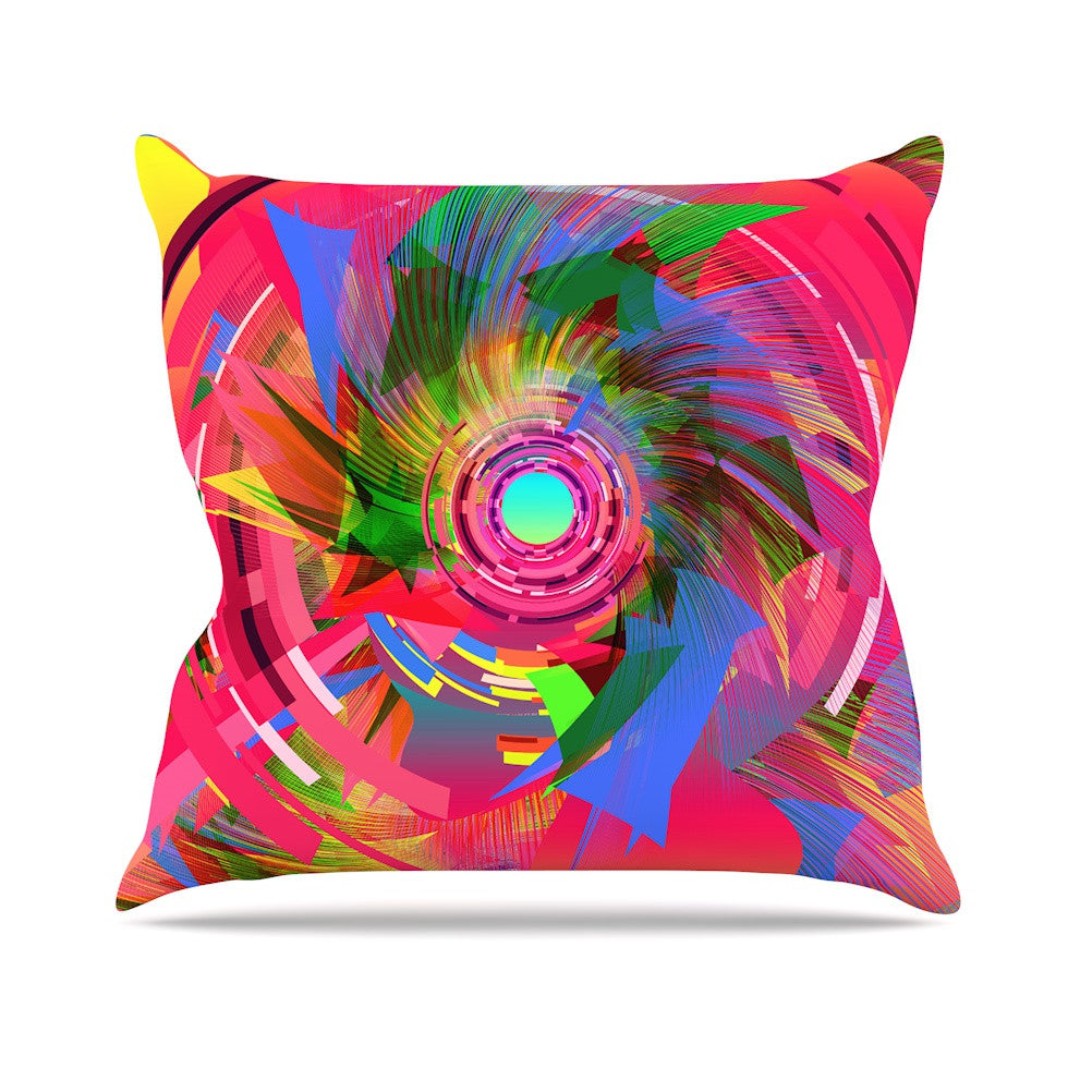 "Danny Ivan ""Fun Hole"" Pink Multicolor Outdoor Throw Pillow - KESS InHouse  - 1"