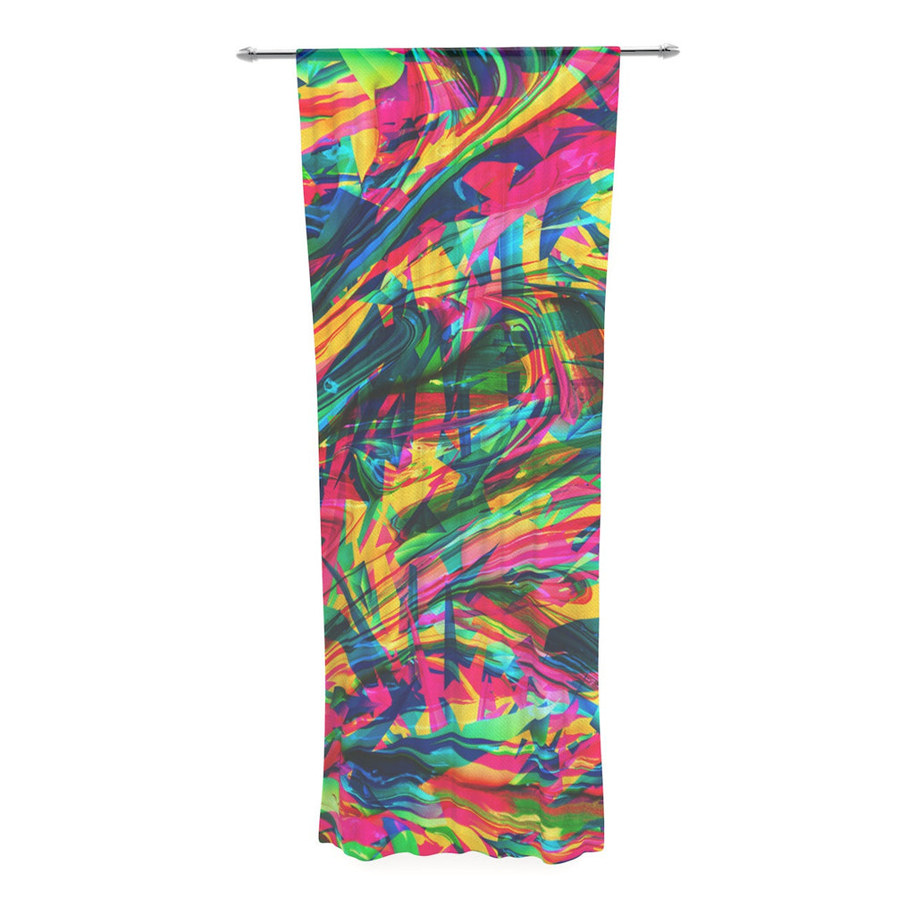 "Danny Ivan ""Wild Abstract"" Rainbow Illustration Decorative Sheer Curtain - KESS InHouse  - 1"