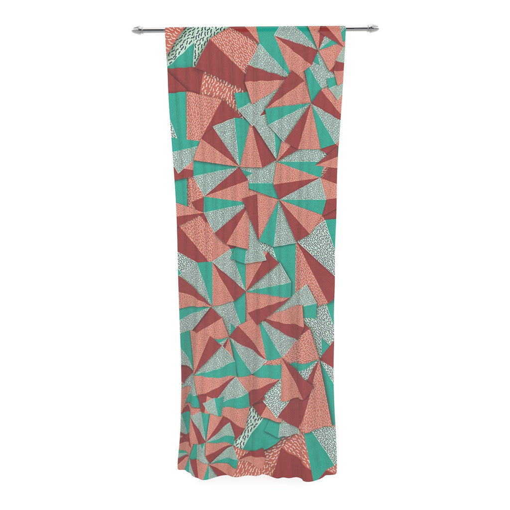 "Danny Ivan ""Marsala Pattern"" Teal Red Decorative Sheer Curtain - KESS InHouse  - 1"