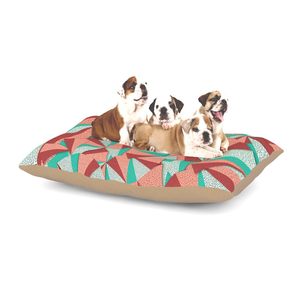 "Danny Ivan ""Marsala Pattern"" Teal Red Dog Bed - KESS InHouse  - 1"