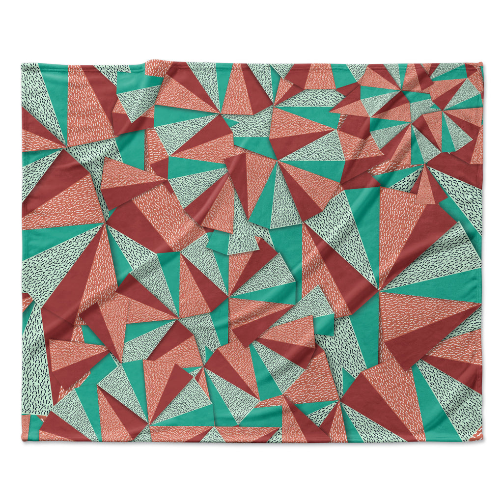 "Danny Ivan ""Marsala Pattern"" Teal Red Fleece Throw Blanket"