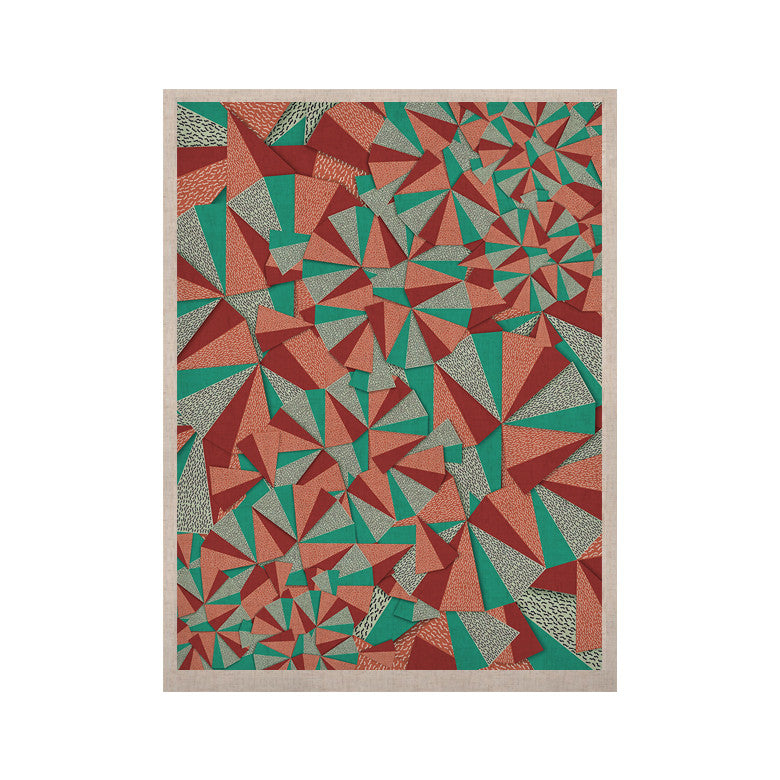 "Danny Ivan ""Marsala Pattern"" Teal Red KESS Naturals Canvas (Frame not Included) - KESS InHouse  - 1"
