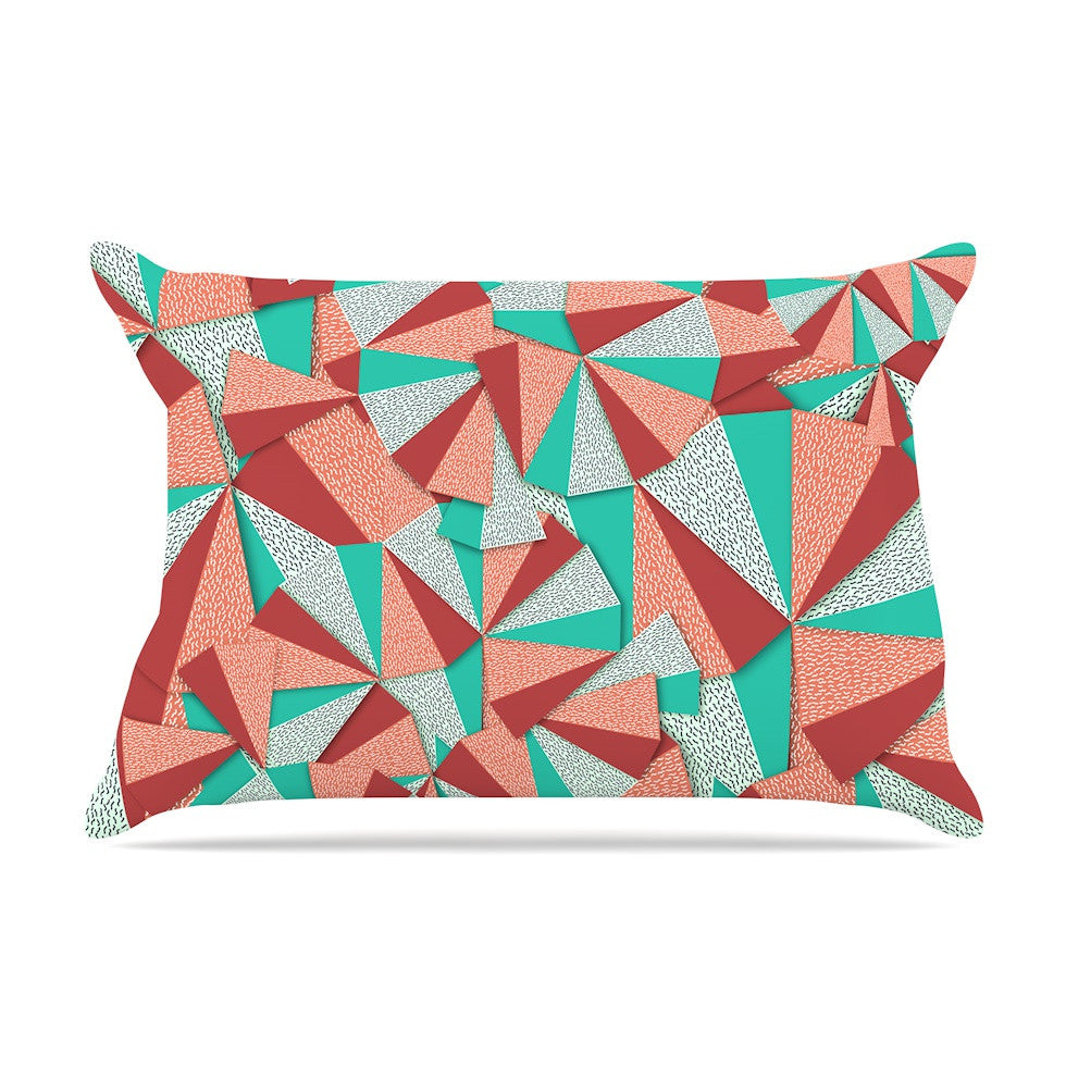 "Danny Ivan ""Marsala Pattern"" Teal Red Pillow Sham - KESS InHouse"
