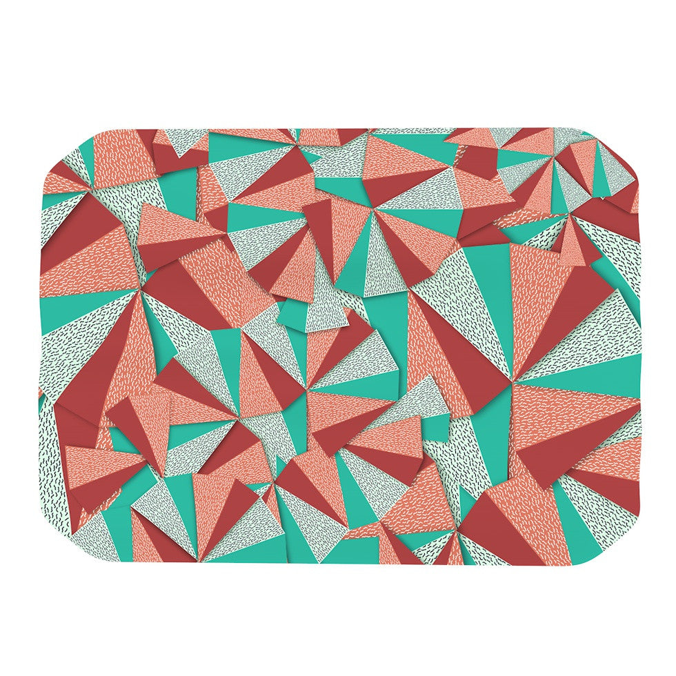 "Danny Ivan ""Marsala Pattern"" Teal Red Place Mat - KESS InHouse"
