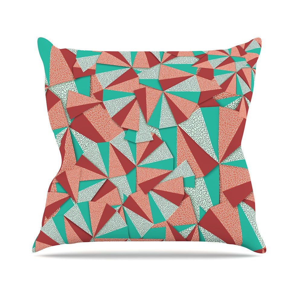 "Danny Ivan ""Marsala Pattern"" Teal Red Outdoor Throw Pillow - KESS InHouse  - 1"