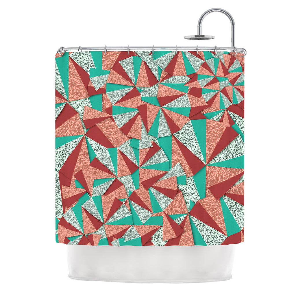 "Danny Ivan ""Marsala Pattern"" Teal Red Shower Curtain - KESS InHouse"