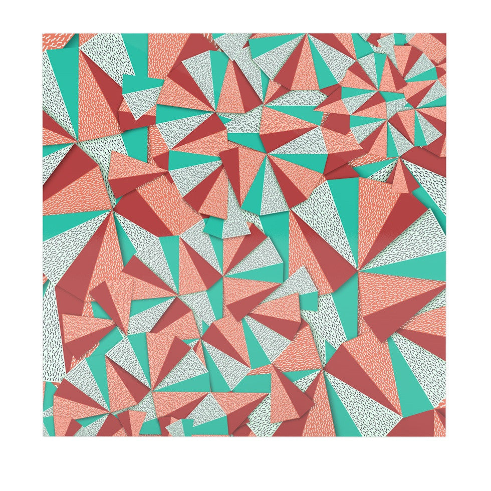"Danny Ivan ""Marsala Pattern"" Teal Red Luxe Square Panel - KESS InHouse  - 1"