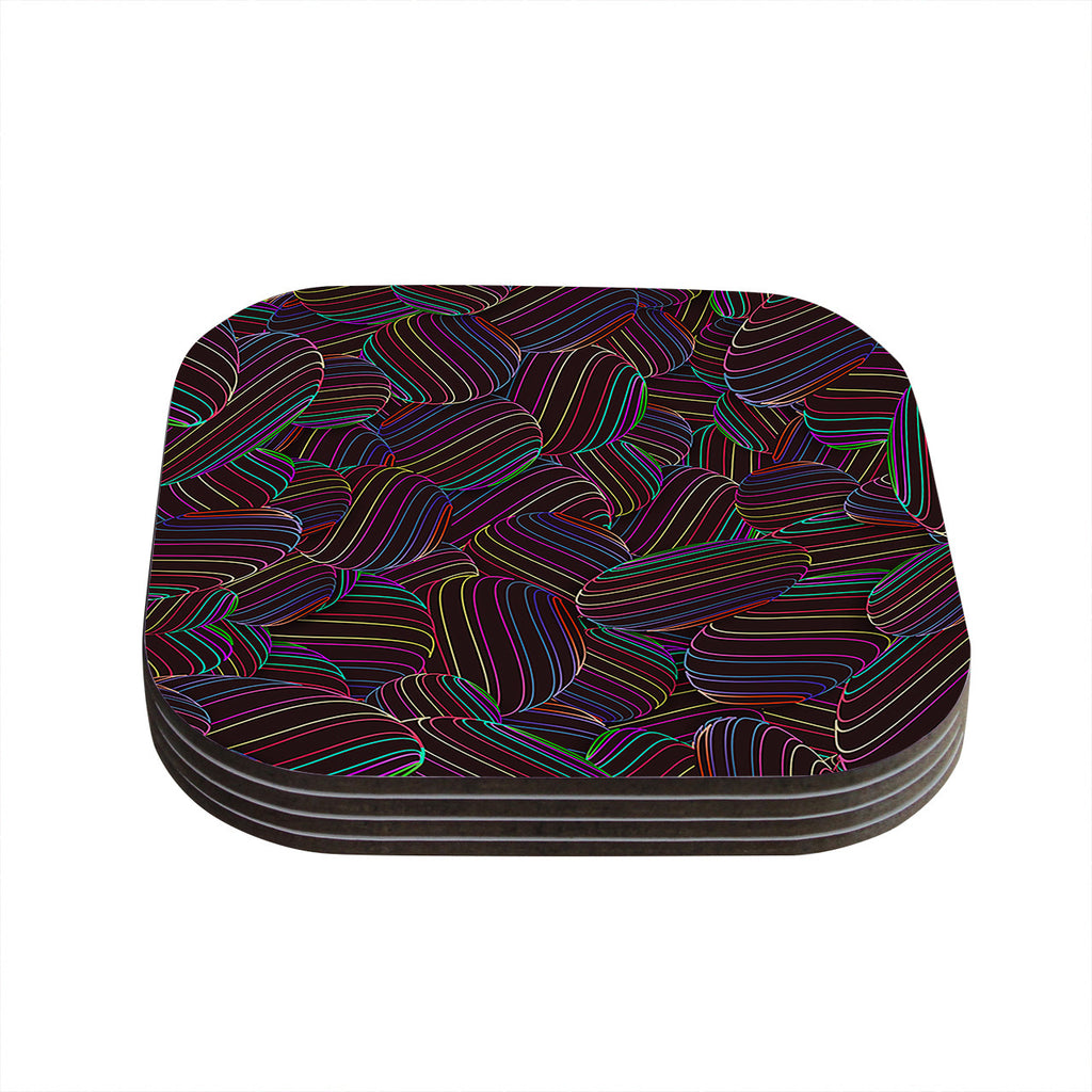 "Danny Ivan ""Sphering"" Black Rainbow Coasters (Set of 4)"