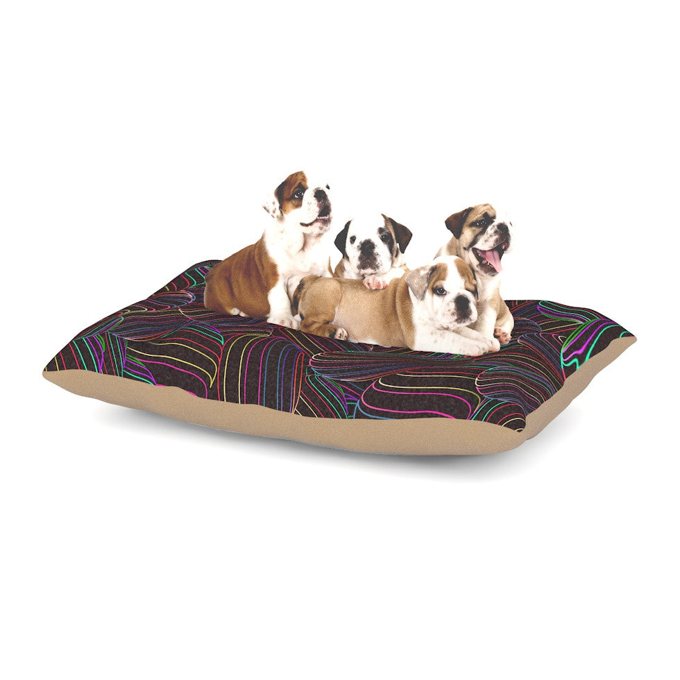 "Danny Ivan ""Sphering"" Black Rainbow Dog Bed - KESS InHouse  - 1"