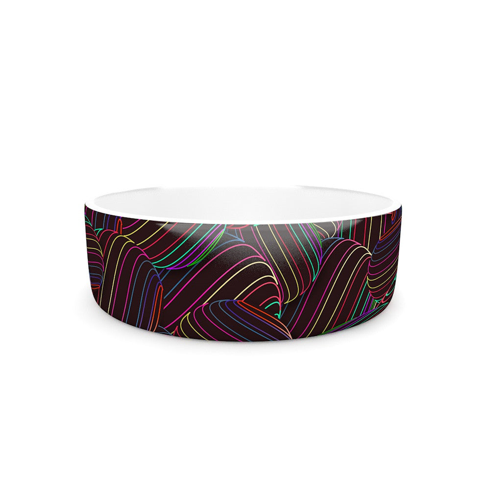 "Danny Ivan ""Sphering"" Black Rainbow Pet Bowl - KESS InHouse"