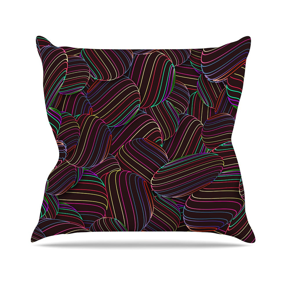 "Danny Ivan ""Sphering"" Black Rainbow Throw Pillow - KESS InHouse  - 1"