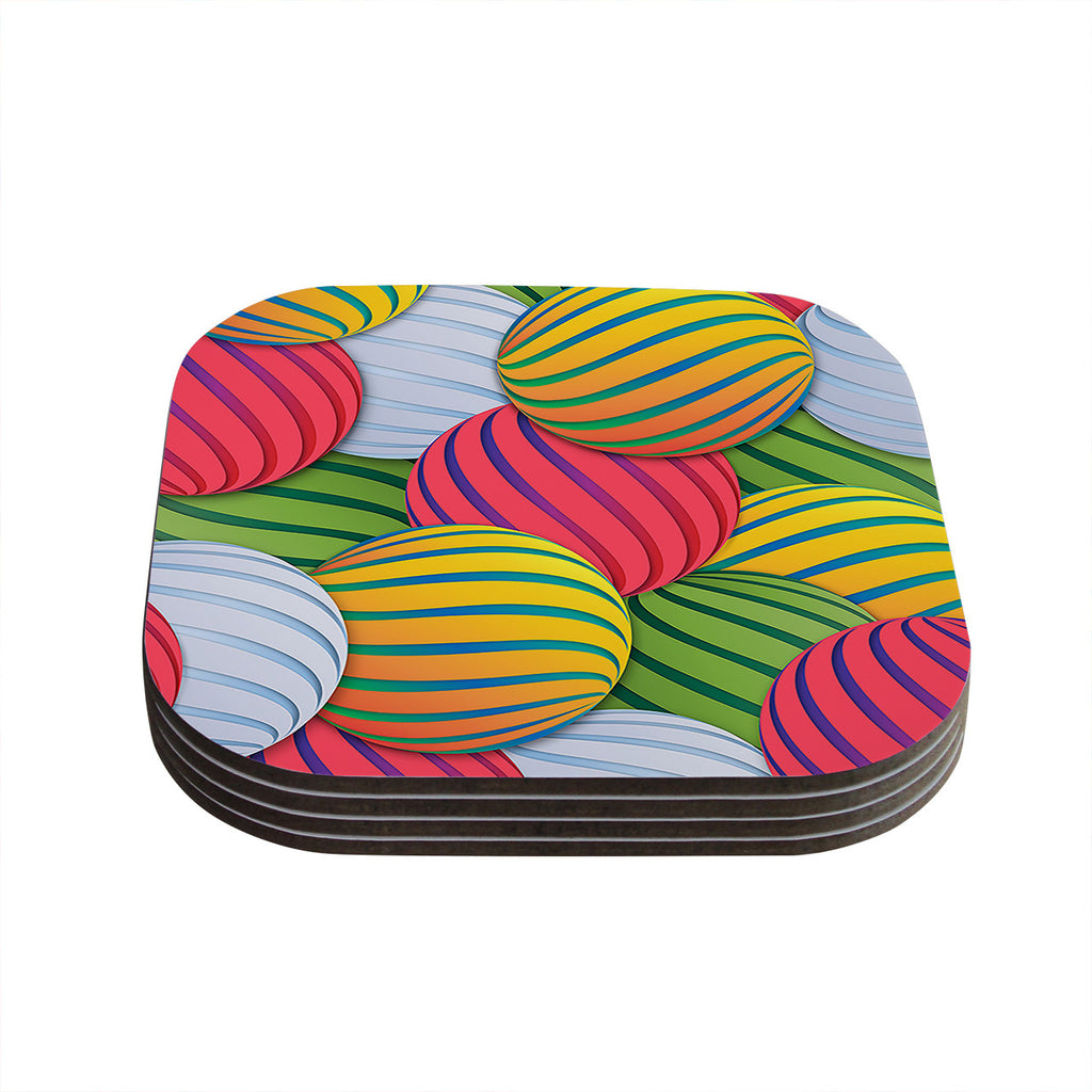 "Danny Ivan ""Melons"" Pink Green Coasters (Set of 4)"