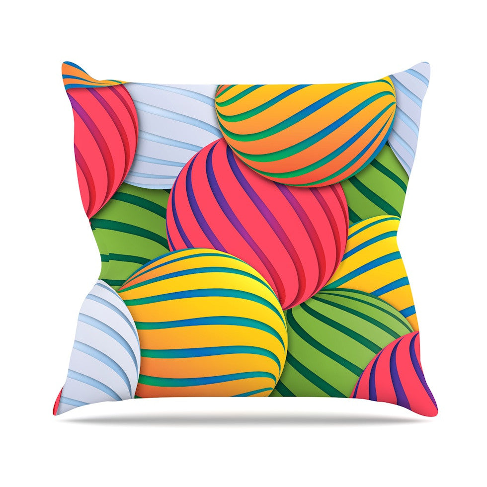 "Danny Ivan ""Melons"" Pink Green Outdoor Throw Pillow - KESS InHouse  - 1"
