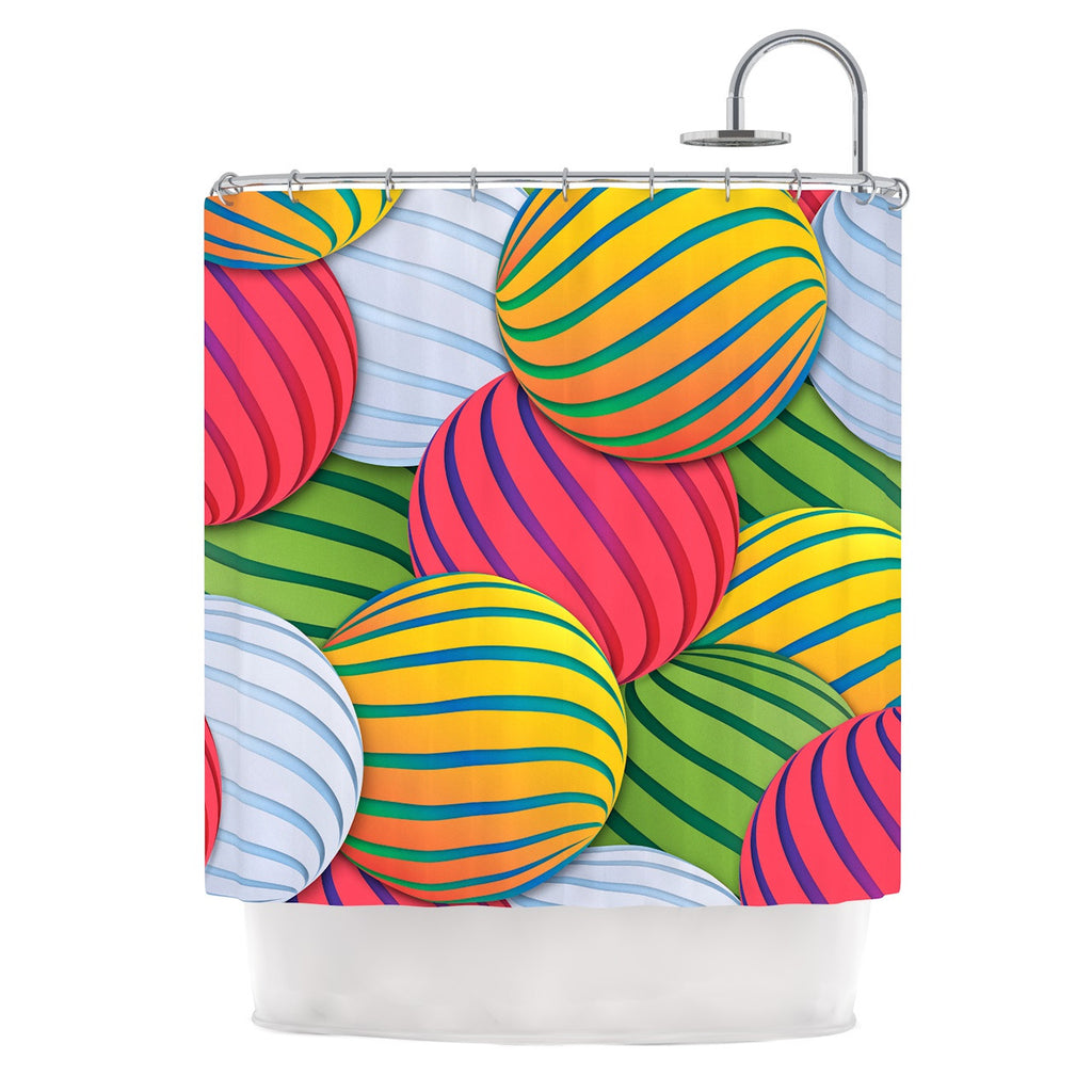 "Danny Ivan ""Melons"" Pink Green Shower Curtain - KESS InHouse"
