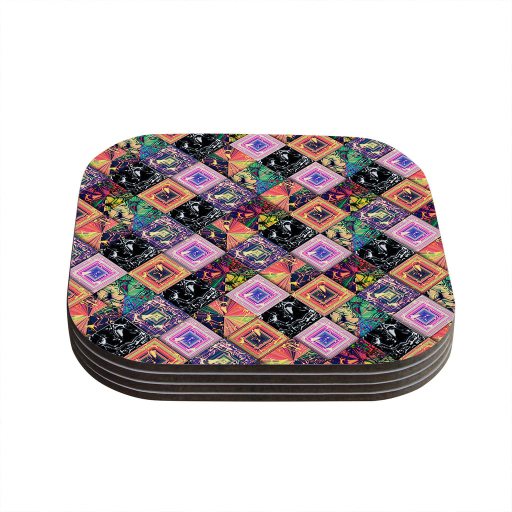 "Danny Ivan ""Never Run Away"" Multicolor Geometric Coasters (Set of 4)"