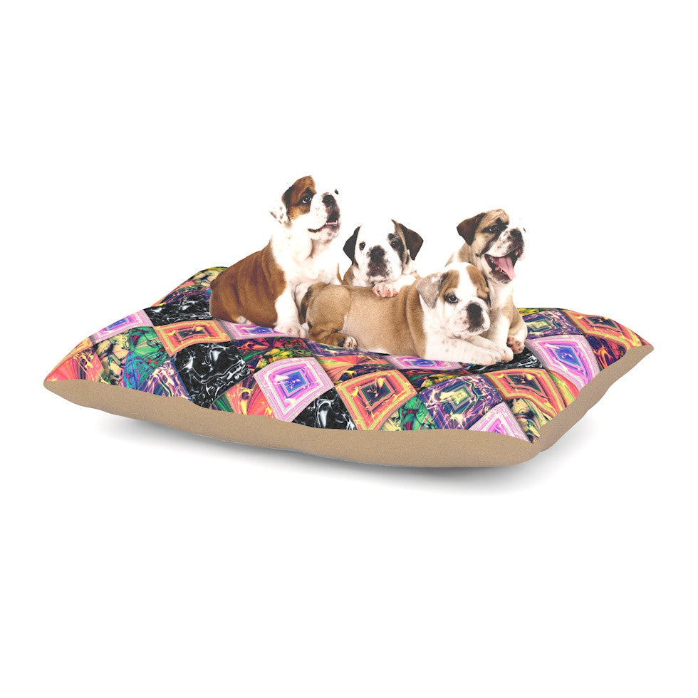 "Danny Ivan ""Never Run Away"" Multicolor Geometric Dog Bed - KESS InHouse  - 1"