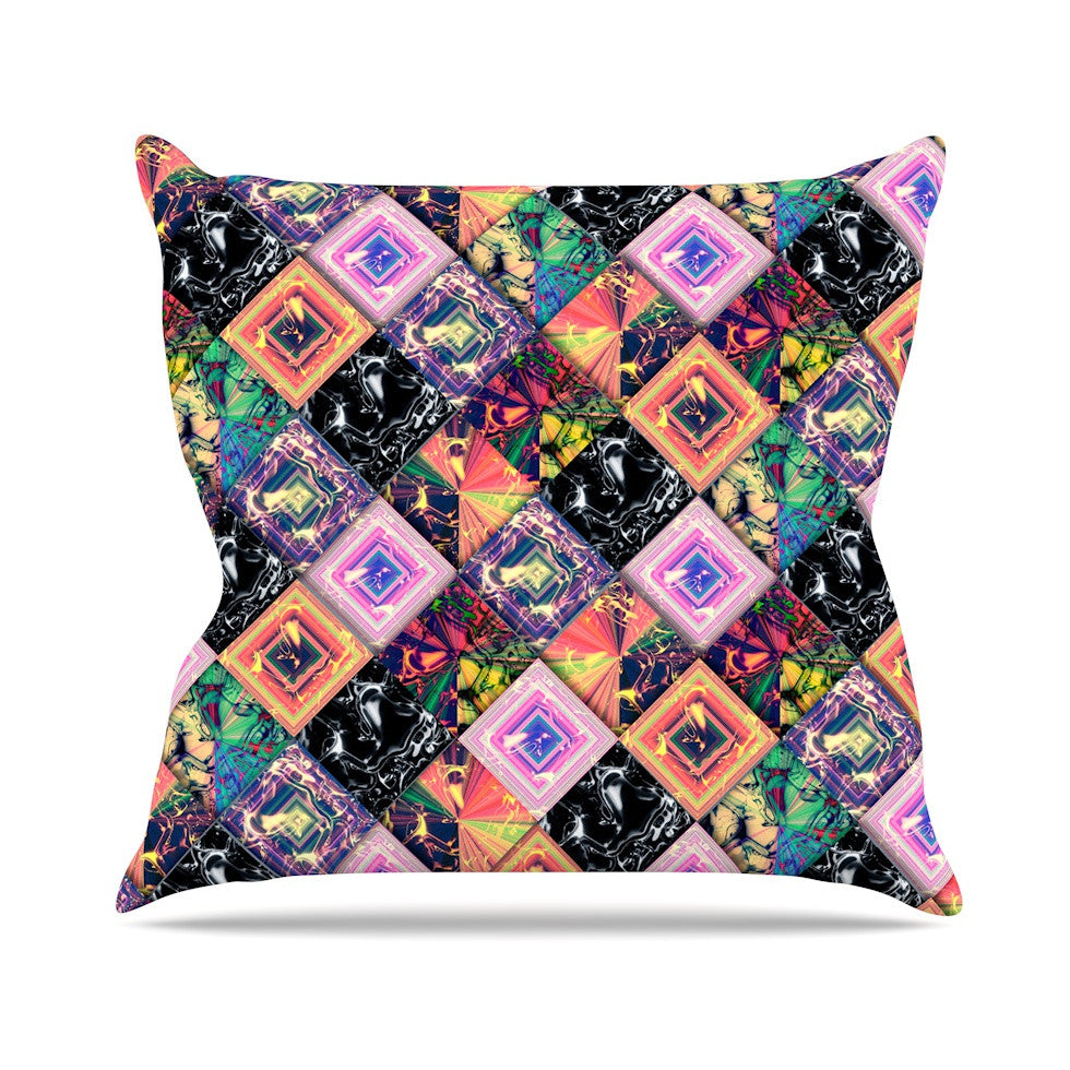 "Danny Ivan ""Never Run Away"" Multicolor Geometric Outdoor Throw Pillow - KESS InHouse  - 1"