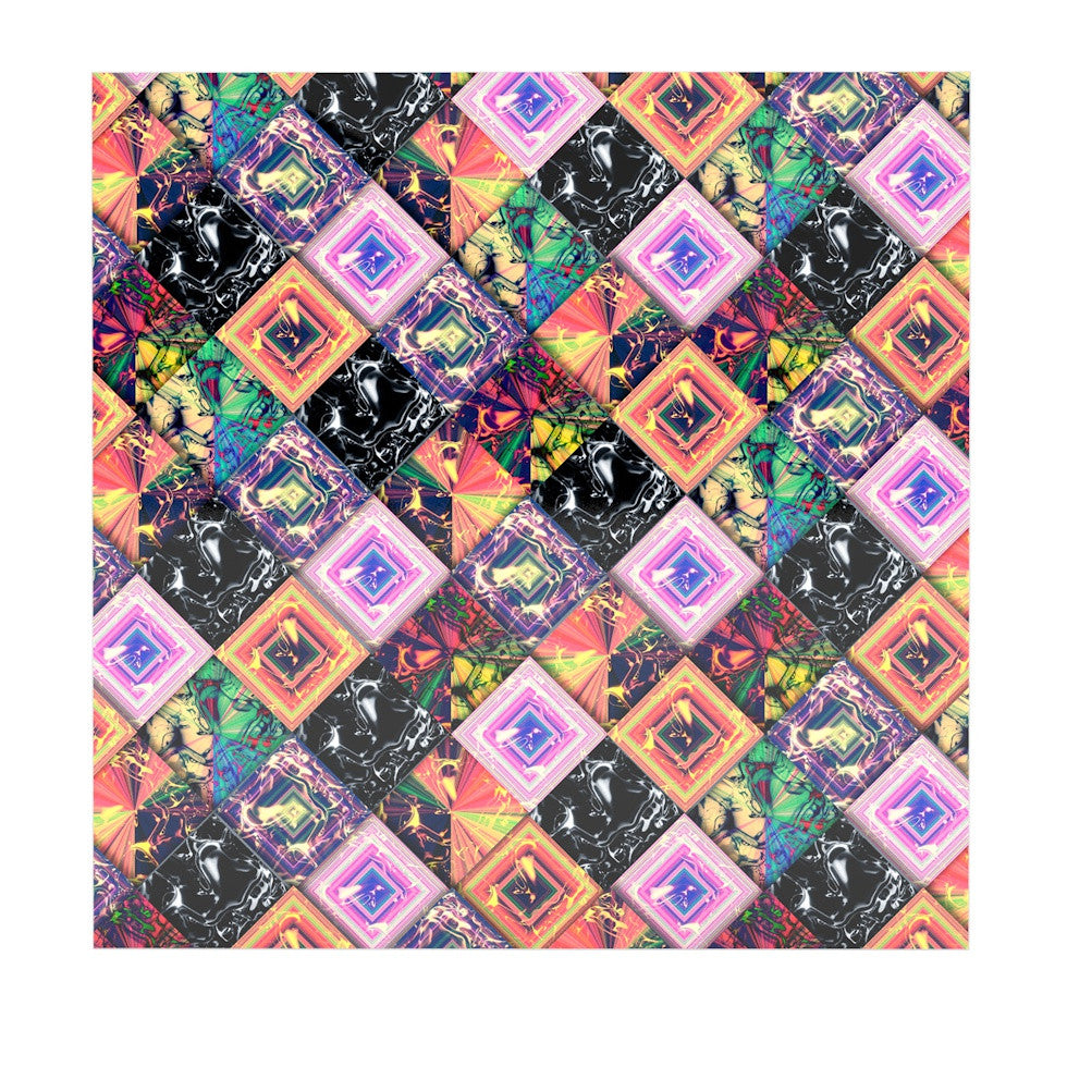 "Danny Ivan ""Never Run Away"" Multicolor Geometric Luxe Square Panel - KESS InHouse  - 1"