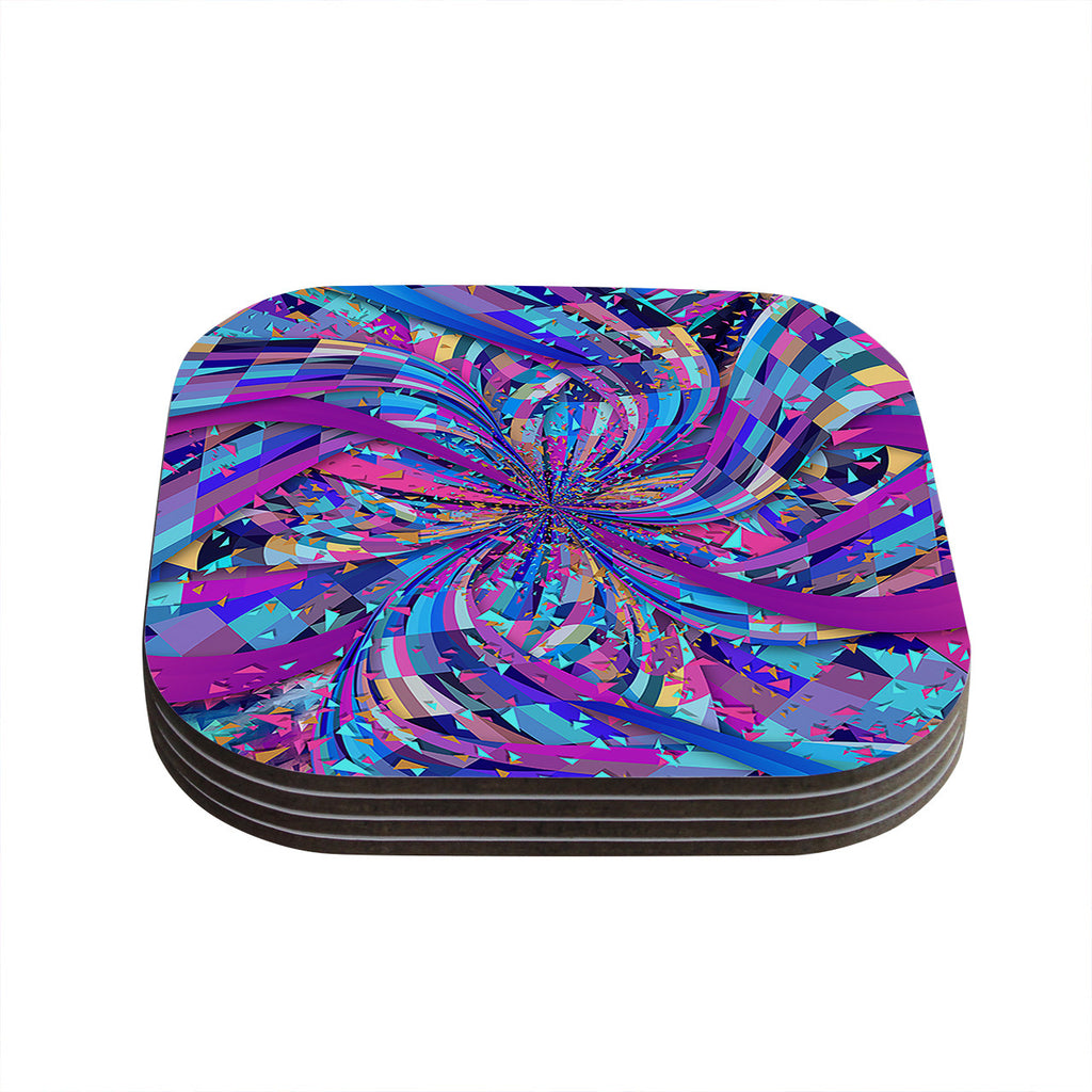 "Danny Ivan ""Flavours Explosion"" Purple Blue Coasters (Set of 4)"