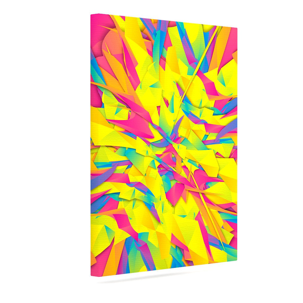 "Danny Ivan ""Bubble Gum Explosion"" Pink Yellow Canvas Art - KESS InHouse  - 1"