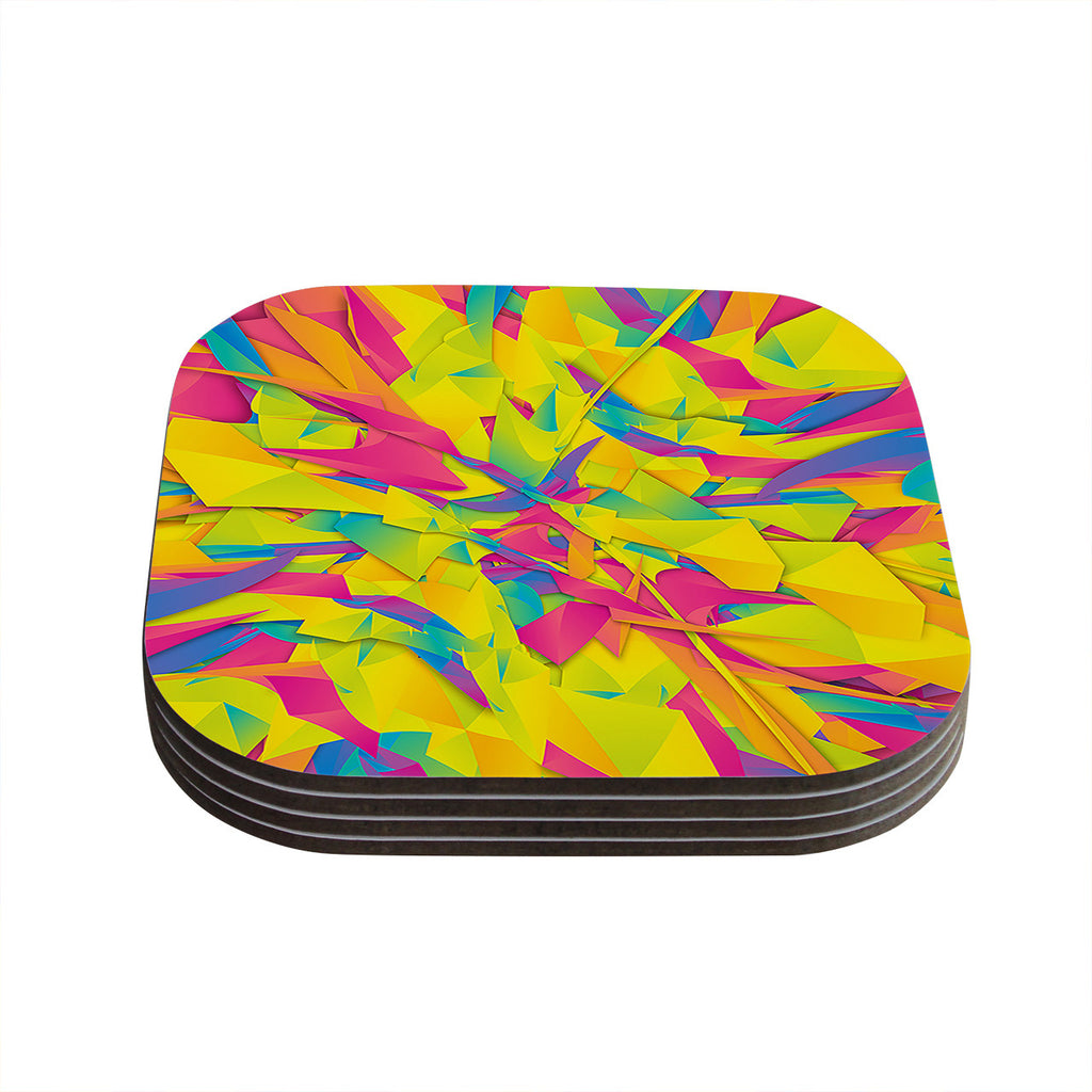 "Danny Ivan ""Bubble Gum Explosion"" Pink Yellow Coasters (Set of 4)"