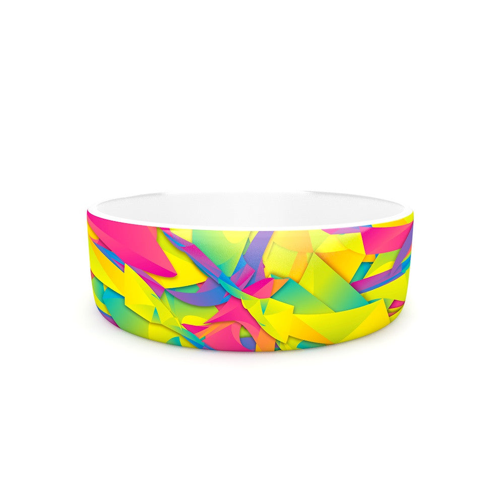 "Danny Ivan ""Bubble Gum Explosion"" Pink Yellow Pet Bowl - KESS InHouse"