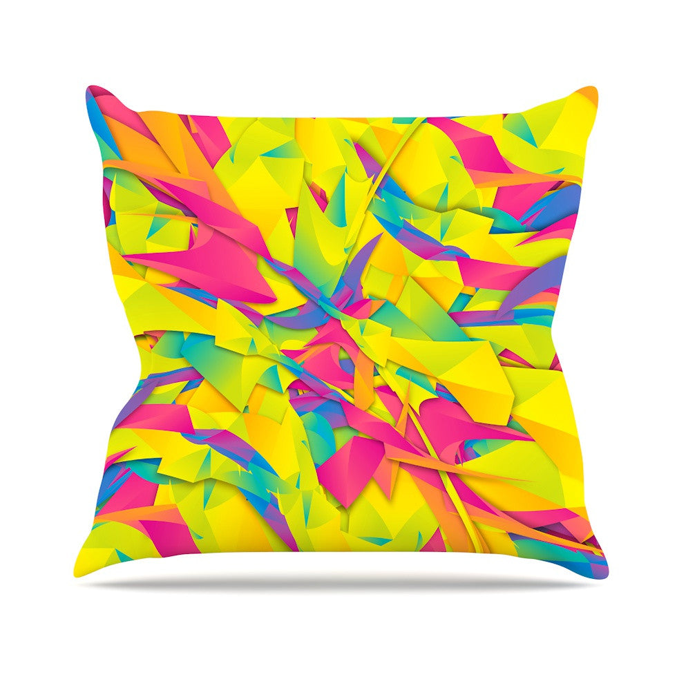 "Danny Ivan ""Bubble Gum Explosion"" Pink Yellow Outdoor Throw Pillow - KESS InHouse  - 1"
