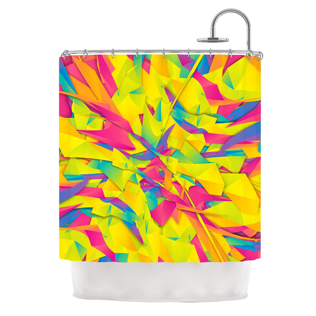 "Danny Ivan ""Bubble Gum Explosion"" Pink Yellow Shower Curtain - KESS InHouse"